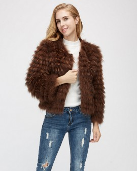 Cropped Raccoon Fur Jacket 971a