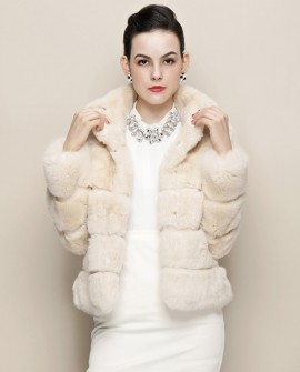 Cropped Rex Rabbit Fur Jacket