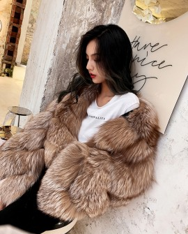 Crystal Fox Fur Cropped Jacket