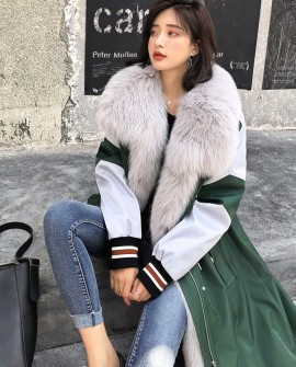 Fox Fur Trim Long Parka with Down-Filled Liner 281a