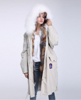 Fox Fur Trimmed Hooded Parka with Detachable Down-filled Liner