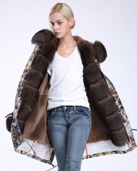 Fox Fur Trimmed Hooded Parka with Detachable Rex Rabbit Fur Liner