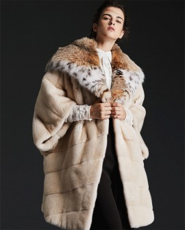 Hooded Cape Look Mink Fur Coat with Lynx Fur Trimming