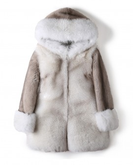 Hooded Fox Fur Coat with Mink Fur Sleeves