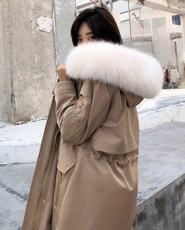 Hooded Fox Fur Trimmed Long Parka with Rex Rabbit Fur Liner