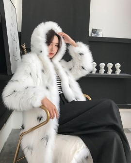 Hooded Knitted White Fox Fur Long Coat
