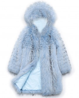 Hooded Raccoon Fur Coat 0101a