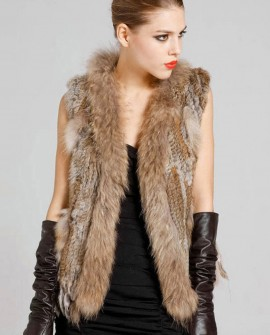 Knitted Rabbit Fur Vest with Raccoon Fur Trim 234a