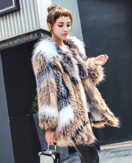 Knitted Raccoon Fur Fox Fur Jacket 930a