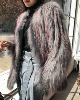 Knitted Raccoon Fur Jacket 305a