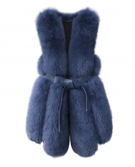 Leather Belt Fox Fur Vest 0032j