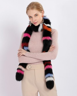 Multicolored Fox Fur Shawl 375a