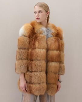 Red Fox Fur Coat in Natural Golden