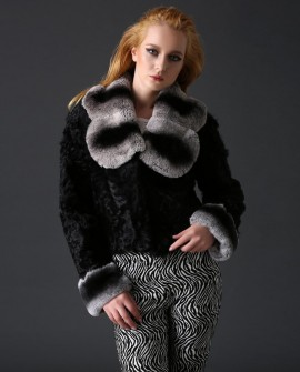 Sheep Fur Cropped Jacket with Rex Rabbit Fur Trim 782a