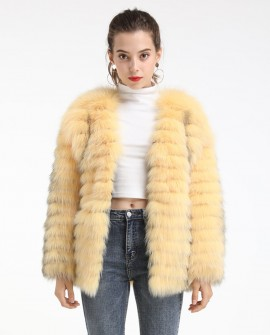 Striped Fox Fur Jacket