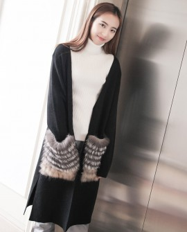 Woollen Sweater Jacket with Fox Fur Trimmed Pockets 911a