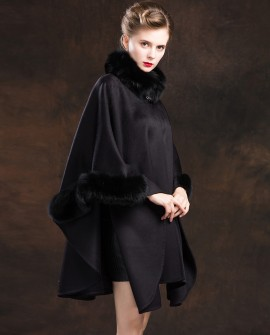 Cashmere Cape with Fox Fur Trim-Black