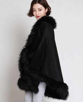 Cashmere Cape with Raccoon Fur Trimming