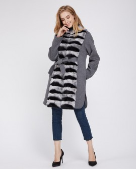 Cashmere Coat with Rex Rabbit Fur Trim