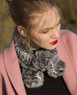 Chinchilla Fur Knitted Scarf, Muffler