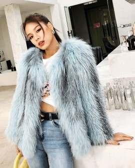 Cropped Knitted Fox Fur Jacket