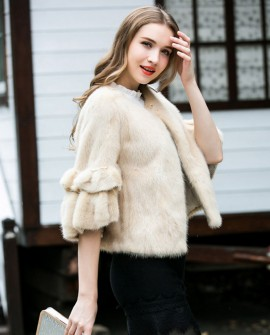 Cropped Mink Fur Bolero Jacket