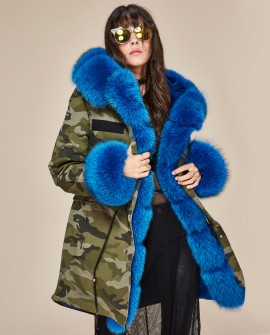 Fox Fur Trimmed Hooded Parka with Detachable Liner