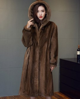 3/4 Length Hooded Mink Fur Coat