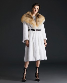 Hooded Mink Fur Long Coat with Gold Island Fox Fur Trim