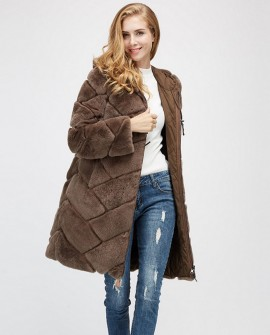 Hooded Reversible Rex Rabbit Fur Jacket with Down Filled