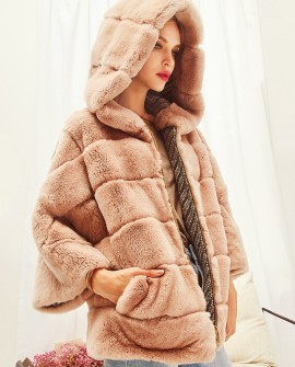 Hooded Rex Rabbit Fur Jacket Reversible Style