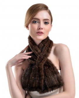 Knitted Mink Fur Scarf