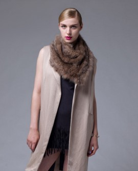 Knitted Sable Fur Scarf Shawl