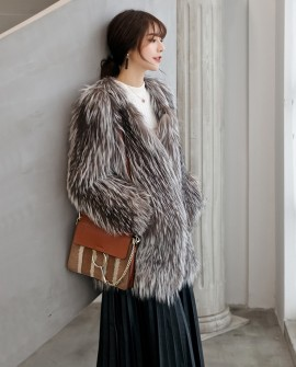 Knitted Silver Fox Fur Coat