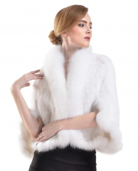 Knitted Mink Fur Cape with Fox Fur Trimming