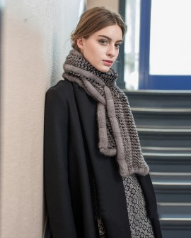 Mink Fur Knitted Wrap Shawl