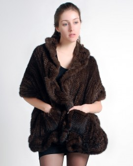 Mink Fur Knitted Shawl, Brown / Black