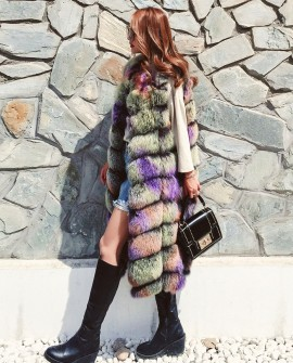 Multicolored Fox Fur Vest