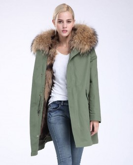 Raccoon Fur Trimming Hooded Parka with Detachable Coyote Fur Liner