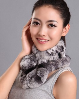Rex Rabbit Fur Scarf Muffler Neckwarmer, Multi-Colored