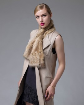 Sable Fur Knitted Scarf