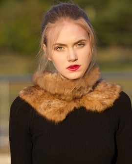 Knitted Sable Fur Neck Warmer Scarf