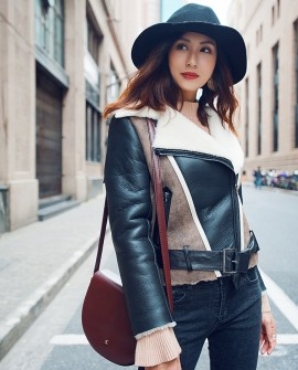 Two-tone Shearling Sheepskin Biker Jacket