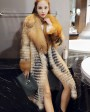 3-4 Length Fox Fur Coat with Cashmere Lining 979a
