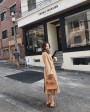 Belted Long Woolen Coat with Sable Fur Trimmed Collar 0057d