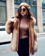 Crystal Fox Fur Coat with Double-Sided Wool Trim 991h