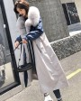 Fox Fur Trim Long Parka Trench Coat with Down-Filled Liner 280d