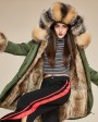 Fox Fur Trimmed Hooded Parka with Detachable Rabbit Fur Liner 130e
