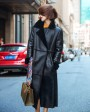 Full Length Shearling Sheepskin Coat 698 Black-1