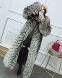 Full length Silver Fox Fur Long Coat 395b